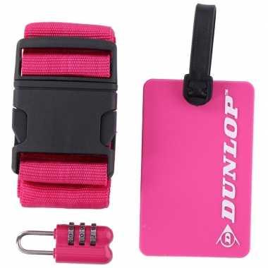 Goedkope roze koffer/bagage accessoiresset
