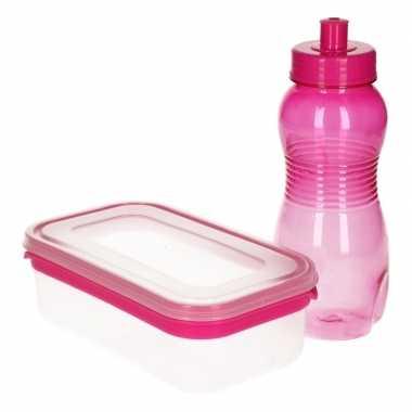 Goedkope roze lunchbox drinkfles ,l