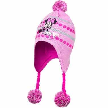 Goedkope roze minnie mouse muts vlechtjes pompoms meisjes