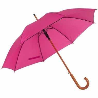 Goedkope roze paraplu houten handvat