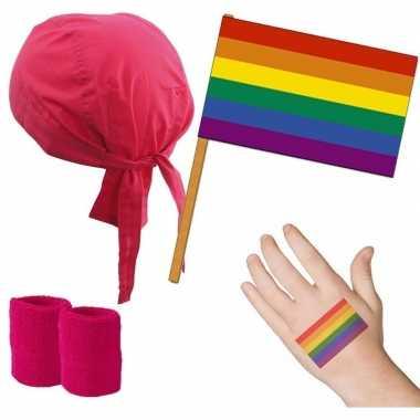 Goedkope roze/regenboog gay pride thema verkleed set volwassenen