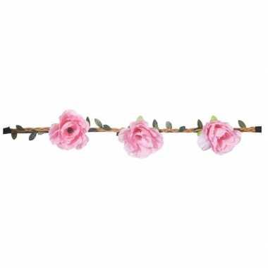 Goedkope roze rozen festival/hippie haarband dames