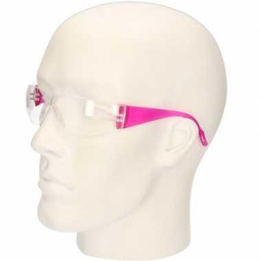 Goedkope roze vuurwerkbril/veiligheidsbril kinderen