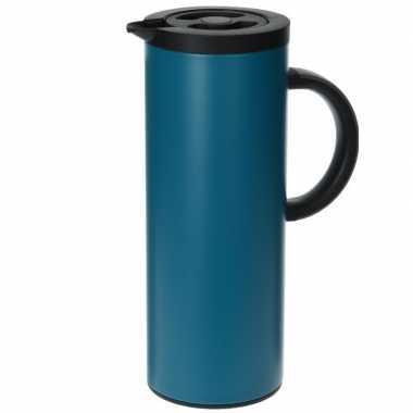 Goedkope rvs thermoskan/isoleerkan liter blauw