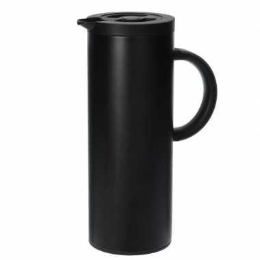 Goedkope rvs thermoskan/isoleerkan liter zwart