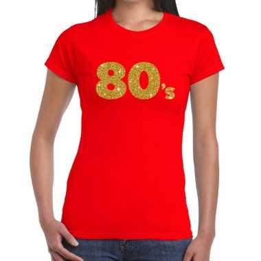 Goedkope 's goud glitter t shirt rood dames