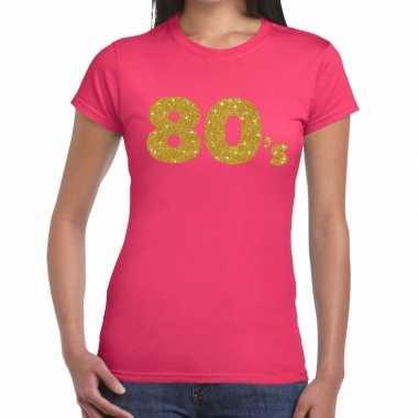 Goedkope 's goud glitter t shirt roze dames