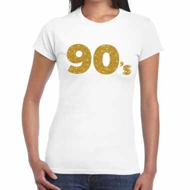 Goedkope 's goud glitter t shirt wit dames