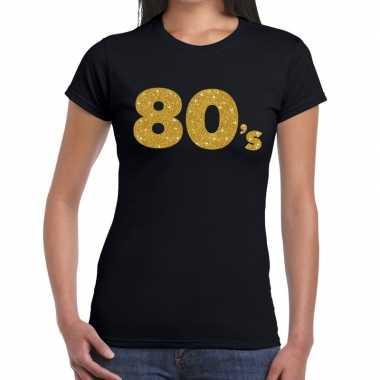 Goedkope 's goud glitter t shirt zwart dames