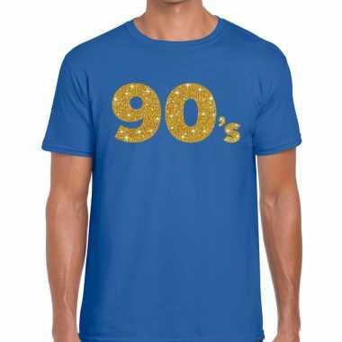 Goedkope 's goud glitter tekst t shirt blauw heren