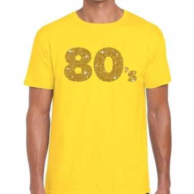 Goedkope 's goud glitter tekst t shirt geel heren