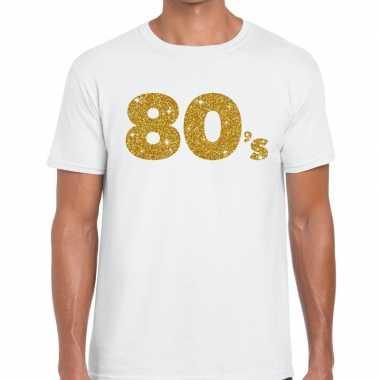 Goedkope 's goud glitter tekst t shirt wit heren