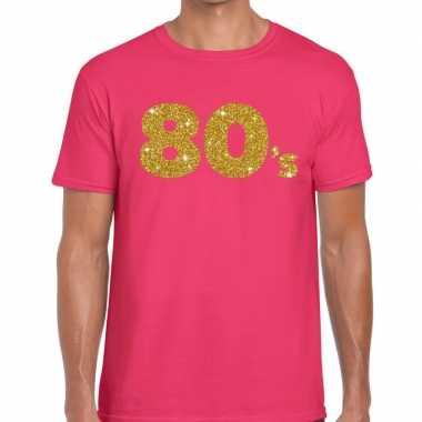Goedkope 's gouden glitter tekst t shirt roze heren