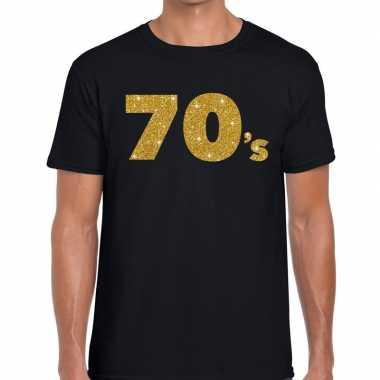 Goedkope 's gouden glitter tekst t shirt zwart heren