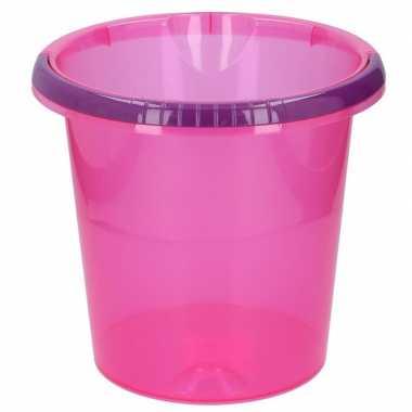 Goedkope schoonmaak / huishoud emmer transparant roze liter