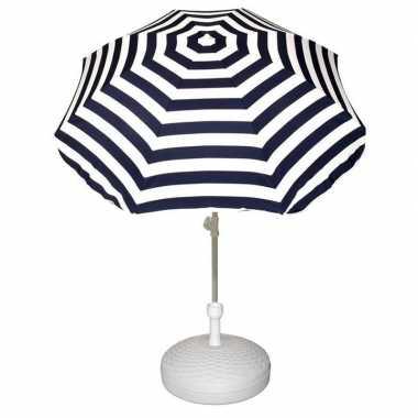 Goedkope set blauw/wit gestreepte parasol parasolvoet wit
