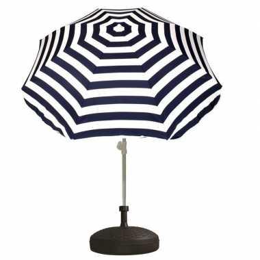 Goedkope set blauw/wit gestreepte parasol parasolvoet zwart