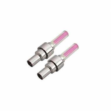 Goedkope set fietsverlichting roze wiel ventiel incl. batterijen
