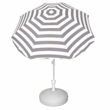 Goedkope set grijs/wit gestreepte parasol parasolvoet wit