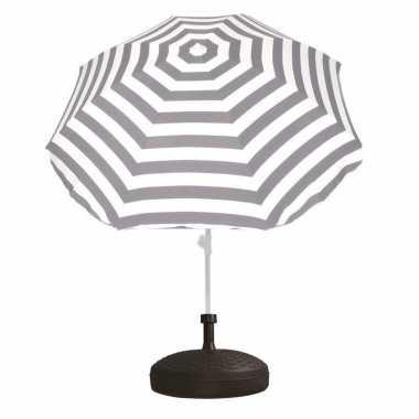 Goedkope set grijs/wit gestreepte parasol parasolvoet zwart