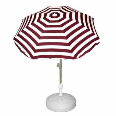 Goedkope set rood/wit gestreepte parasol parasolvoet wit