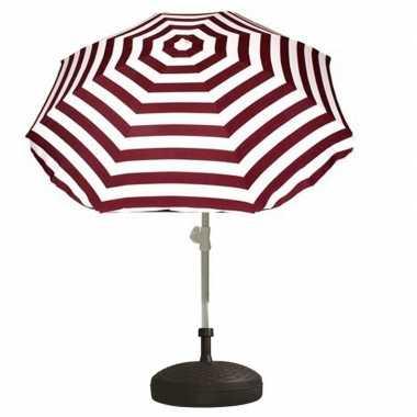 Goedkope set rood/wit gestreepte parasol parasolvoet zwart
