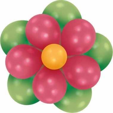 Goedkope setje bloem ballonnen groen/fuchsia