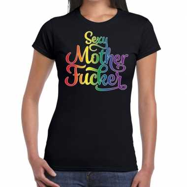 Goedkope sexy mother fucker gaypride shirt zwart dames