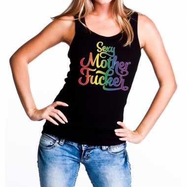 Goedkope sexy mother fucker gaypride tanktop/mouwloos shirt zwart dam