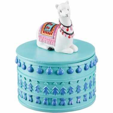 Goedkope sieradendoosje witte lama/alpaca rond