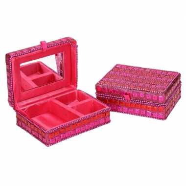 Goedkope sieradenkistje/juwelendoosje roze glitters