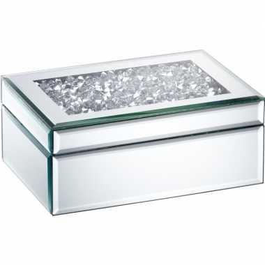 Goedkope sieradenkistje spiegel/zilver diamanten