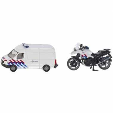 Goedkope siku nederlandse politie speelgoedauto motor set
