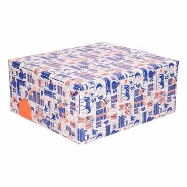 Goedkope sinterklaas kadopapier blauw/wit/oranje rol