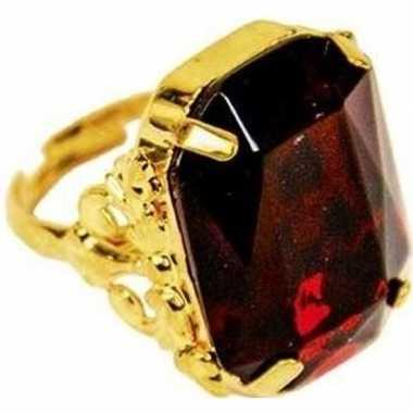 Goedkope sinterklaas verkleed ring goud/rood rechthoekig heren