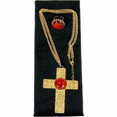 Goedkope sinterklaas verkleed sieraden set ketting ring heren