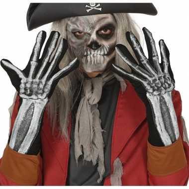 Goedkope skelet horror verkleed handschoenen volwassenen