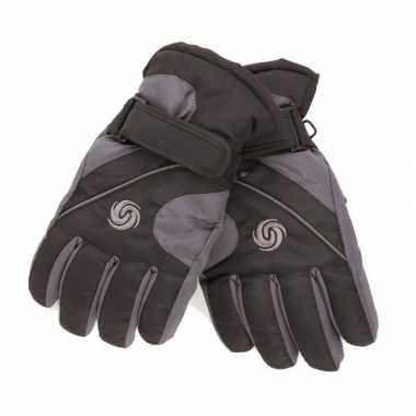 Goedkope ski handschoenen jongens zwart/donkergrijs