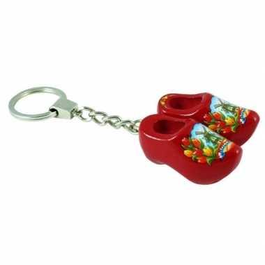 Goedkope sleutelhanger rode klompjes holland souvenir