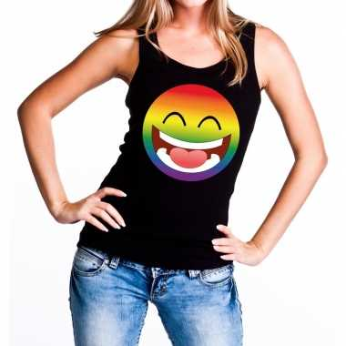 Goedkope smiley/emoji regenboog gay pride tanktop zwart dames