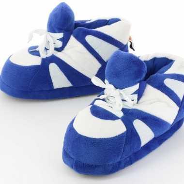 Goedkope sneaker pantoffels/sloffen volwassenen blauw/wit /