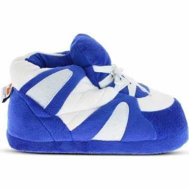 Goedkope sneakers sloffen/pantoffels blauw/wit dames