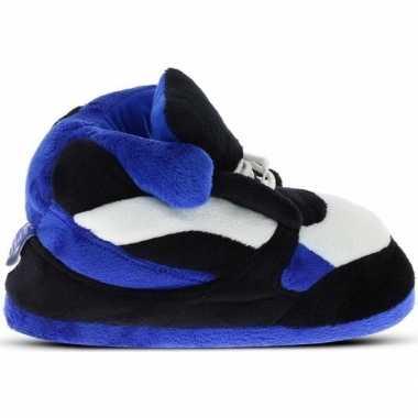 Goedkope sneakers sloffen/pantoffels blauw/zwart/wit heren