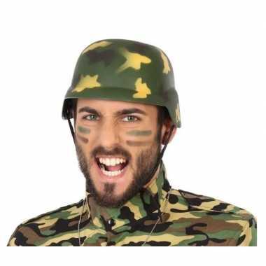 Goedkope soldaten verkleed helm camouflage volwassenen