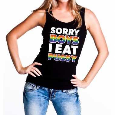 Goedkope sorry boys i eat pussy gaypride tanktop/mouwloos shirt zwart