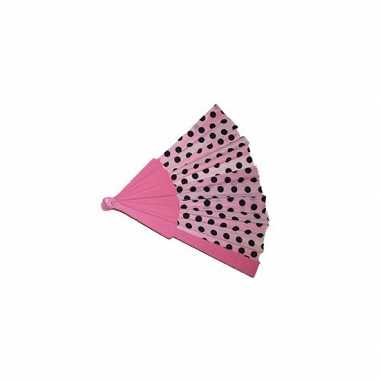 Goedkope spaanse waaier roze zwarte stippen