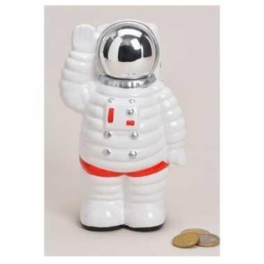 Goedkope spaarpot astronaut wit keramiek