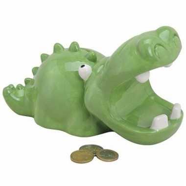 Goedkope spaarpot groene krokodil