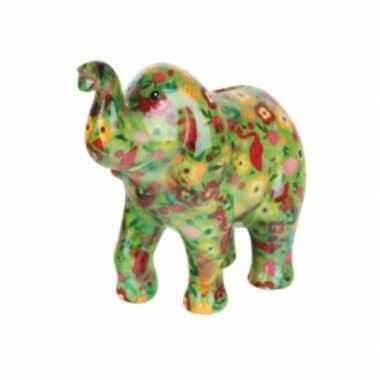 Goedkope spaarpot olifant groen bloemen