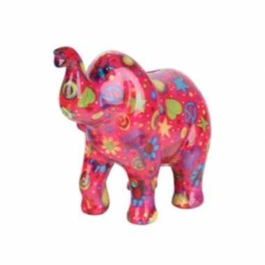 Goedkope spaarpot olifant roze peace teken